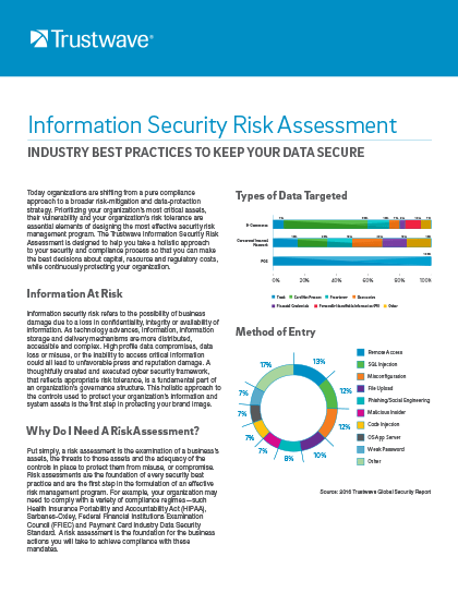 data sheet information security risk assessment trustwave