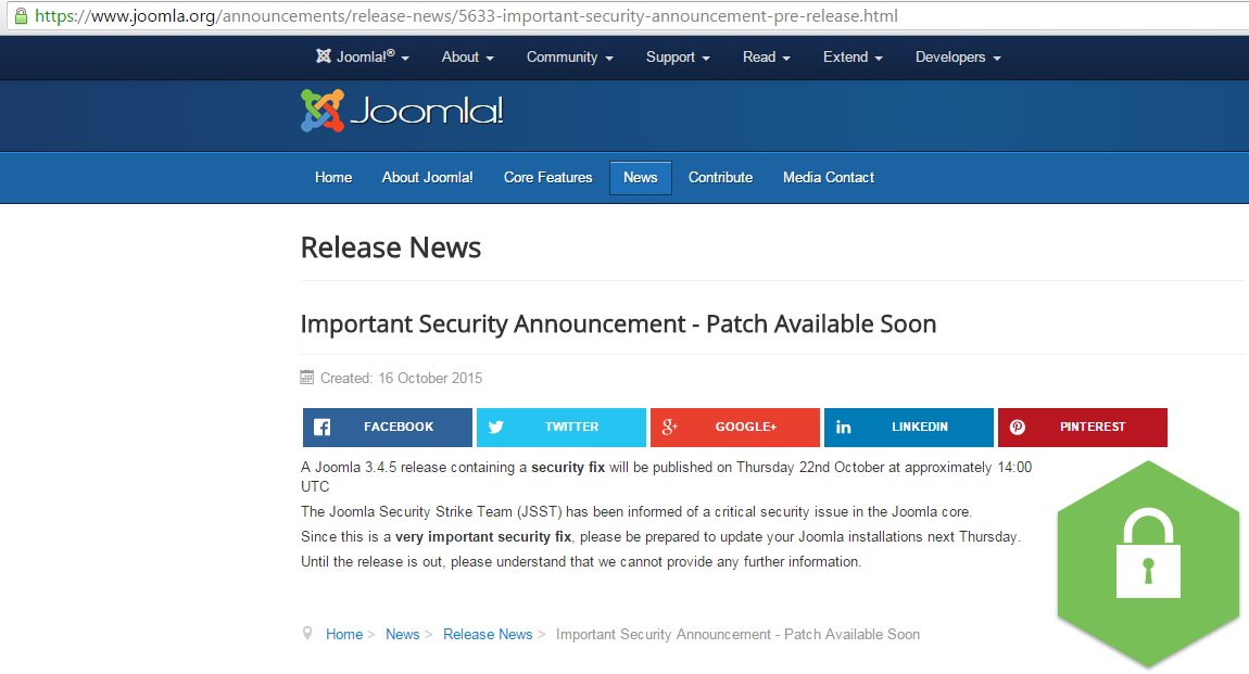 Joomla SQL Injection Vulnerability Exploit Results in Full