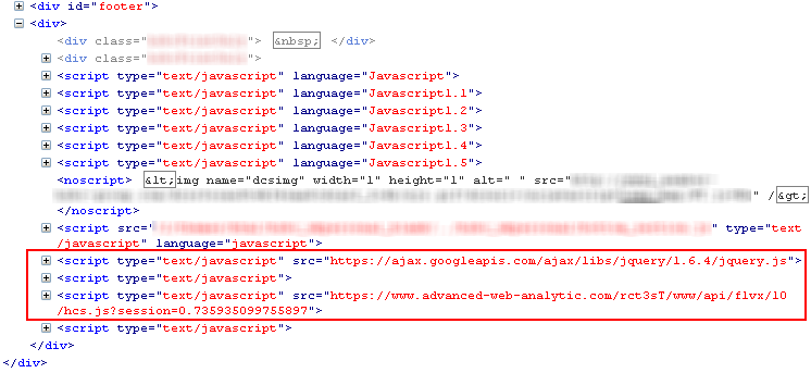 Figure 6: Code injected to one of the bank Web pages