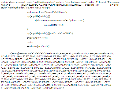 Figure 1: Obfuscated MDAC exploit generated by Blackhole exploit kit