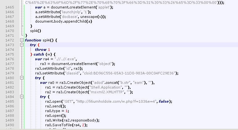 Figure 2: De-obfuscated MDAC exploit CVE-2006-0003 generated by Blackhole exploit kit
