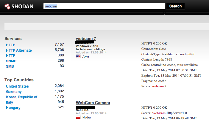Shodan webcam